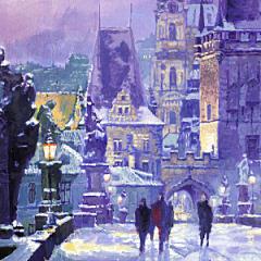 Small square crop of Prague Winter, Charles Bridge, Yuriy Shevchuk, Painting