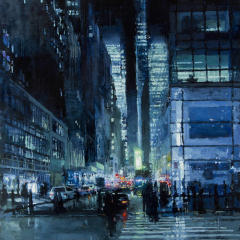 Small square crop of New York Night in Blue, Jeremy Mann, Painting