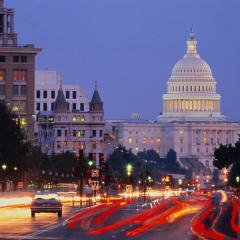 Evening, Washington D.C., the Capitol Building