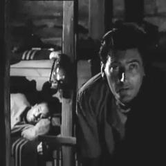 Small square capture of the Trollenberg Terror (The Crawling Eye): Peering into the cold darkness, Dewhurst and Brett
