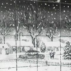 "Photograph of a Charles Addams' cartoon, the Addams family looking outside at the snow and Christmas trees, and Morticia saying, ""Suddenly, I have a dreadful urge to be merry."""