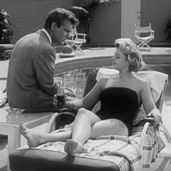 Square cropped capture from A Life at Stake (Paul Guilfoyle, 1954), Doris Hillman (Angela Lansbury) poolside with Edward Shaw (Keith Andes)