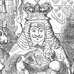 Crop of the Tenniel fronticepiece from Alice's Adventures in Wonderland, The Red King