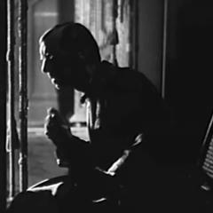 Small square-cropped capture from Borrowed Wives, (Frank. R. Strayer, 1930), Uncle Henry (Charles Sellon) Listening from the Shadows