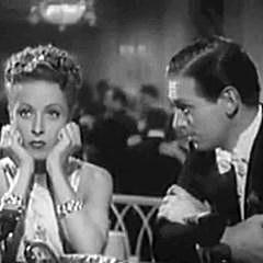 Square cropped capture from the movie The Rage of Paris, starring Danielle Darrieux and Douglas Fairbanks Jr.