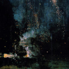 Square crop of the painting Nocturne in Black and Gold — The Falling Rocket, by James Whistler