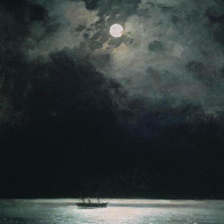 Square crop from the painting The Black Sea at Night by Ivan Aivazovsky